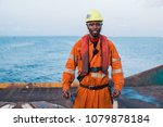 seaman ab or bosun on deck of... | Shutterstock . vector #1079878184