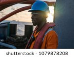 tired seaman ab or bosun on... | Shutterstock . vector #1079878208