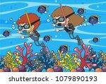 doodle kids underwater scuba...   Shutterstock .eps vector #1079890193