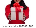 cropped brunette woman showing... | Shutterstock . vector #1079891786