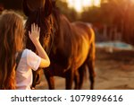 Stock photo young blonde girl stroking a brown horse 1079896616