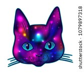 Stock vector cat head with cosmos and stars inside dark flesh tattoo and stickers vector illustration 1079897318