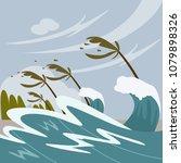 storm hitting the beach. series ... | Shutterstock .eps vector #1079898326
