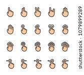 color line icon set of touch...   Shutterstock .eps vector #1079899289