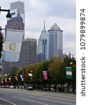 Small photo of National flags on Benjamin Franklin Parkway and the Philadelphia skyline in the background, Philadelphia, PA, USA, Sep 22, 2008