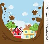 land slide hitting the city... | Shutterstock .eps vector #1079902610