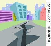 huge earthquake hitting a city. ... | Shutterstock .eps vector #1079905310