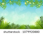 exotic tropical leaf and frower ... | Shutterstock .eps vector #1079920880