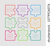 colorful puzzle nine piece... | Shutterstock .eps vector #1079926076