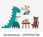 cute dinosaur drinking tea on... | Shutterstock .eps vector #1079926736