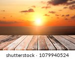 wood floor with ocean or lake... | Shutterstock . vector #1079940524