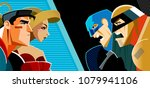 good heroes versus evil heroes. ... | Shutterstock .eps vector #1079941106