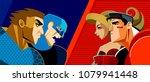 good heroes versus evil heroes. ... | Shutterstock .eps vector #1079941448