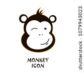 winking monkey icon. cute... | Shutterstock .eps vector #1079943023