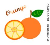 an orange with a half of it.... | Shutterstock .eps vector #1079943980