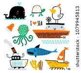 vector set of children's... | Shutterstock .eps vector #1079945813