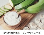 raw and dried green bananas ... | Shutterstock . vector #1079946746