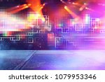 futuristic retro background of... | Shutterstock . vector #1079953346