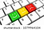 computer keyboard with positive ... | Shutterstock . vector #1079964104