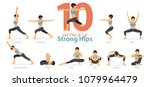 a set of yoga postures female... | Shutterstock .eps vector #1079964479