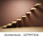 Abstract Stairs On Brick Wall...