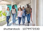 group of mixed races teenagers... | Shutterstock . vector #1079973530