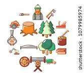 timber industry icons set.... | Shutterstock .eps vector #1079985974