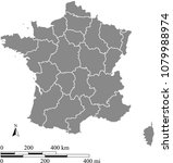 france map vector outline with... | Shutterstock .eps vector #1079988974