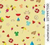 summer seamless pattern | Shutterstock .eps vector #1079997530