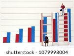 Small photo of Bar graph and miniature people. A gender discriminatory policy concept in employment and promotion.