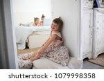 funny toddler girl next to... | Shutterstock . vector #1079998358