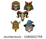 mascot icon illustration set of ... | Shutterstock .eps vector #1080002798