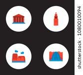 set of landmarks icons flat... | Shutterstock .eps vector #1080010094