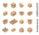 set of different cardboard... | Shutterstock .eps vector #1080016529