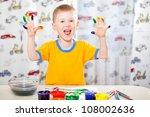 joyful boy with painted fingers ... | Shutterstock . vector #108002636