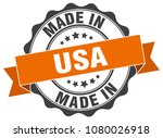 made in usa round seal | Shutterstock .eps vector #1080026918