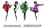 four fashion girls in sketch... | Shutterstock .eps vector #1080031649