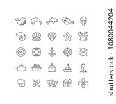 outline sea icons | Shutterstock .eps vector #1080044204