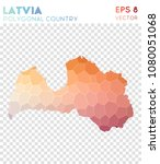 latvia polygonal  mosaic style... | Shutterstock .eps vector #1080051068