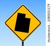 utah map road sign. square... | Shutterstock .eps vector #1080051179
