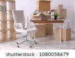 armchair and carton boxes with... | Shutterstock . vector #1080058679