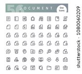 set of 56 document line icons... | Shutterstock .eps vector #1080060209