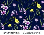 floral seamless pattern with... | Shutterstock .eps vector #1080063446