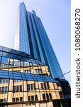 Small photo of View from the bottom to the towers of the headquarter of the Deutsche Bank in Frankfurt Main, Frankfurt - Germany, April 07th 2018