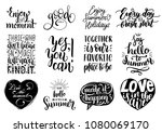 vector set of hand lettering... | Shutterstock .eps vector #1080069170