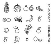 set of fruit and berry line... | Shutterstock . vector #1080073403