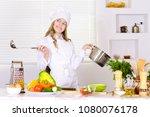 girl wearing chef uniform... | Shutterstock . vector #1080076178