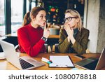 brunette hipster blogger told... | Shutterstock . vector #1080078818