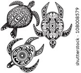 Vector Illustration Of Turtles...