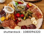 antipasti cold dish with... | Shutterstock . vector #1080096320